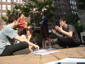Students discussion outside